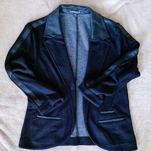 Express Knit Blazer Vegan Leather Black Size M